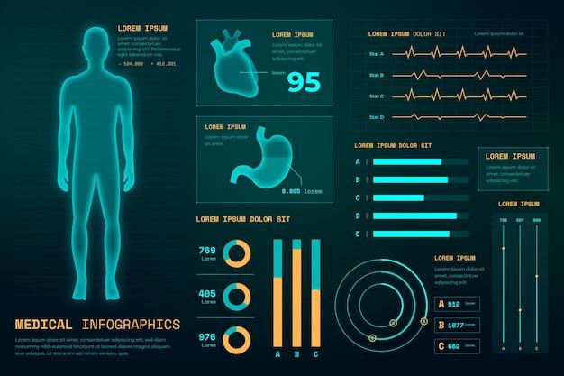 Infografía médica de estilo futurista