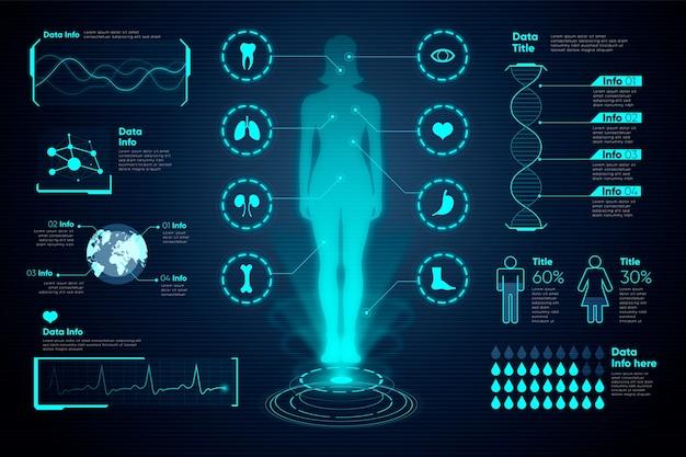 Infografía médica femenina y gráficos