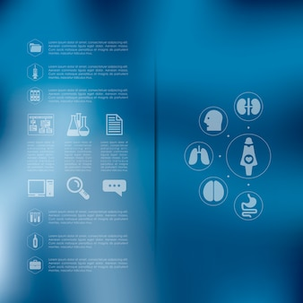 Infografía médica con fondo desenfocado.