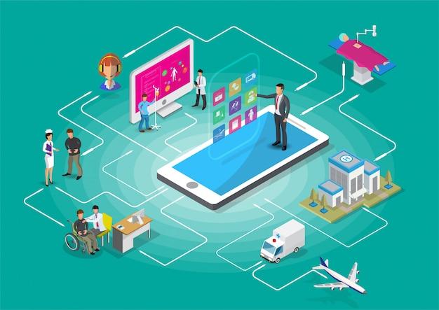 Infografía médica isométrica de salud digital.