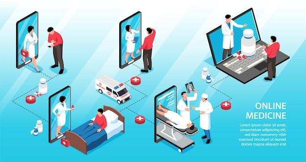 Infografía de medicina en línea isométrica