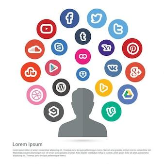 Infografía de medios sociales de colores
