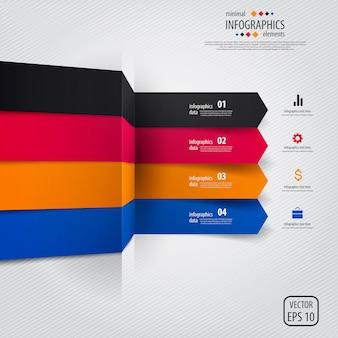 Infografía mínima colorida