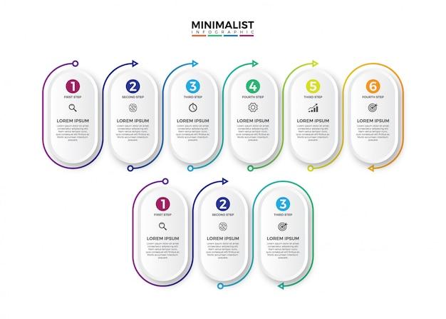 Infografía minimalista etiqueta círculo 3d.