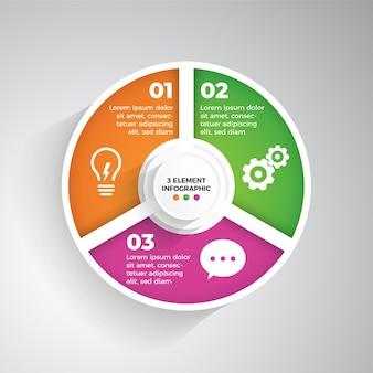 Infografía moderna de 3 elementos.