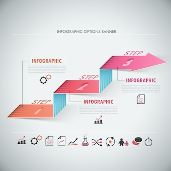 Infografía moderna 3d opciones banner con flecha realista