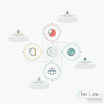 Infografía moderna, 4 elementos circulares con pictogramas colocados alrededor