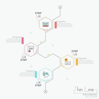 Infografía moderna con 4 elementos hexagonales.
