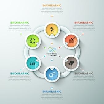 Infografía moderna del ciclo del papel.