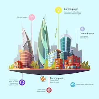 Infografía moderna de la ciudad capital