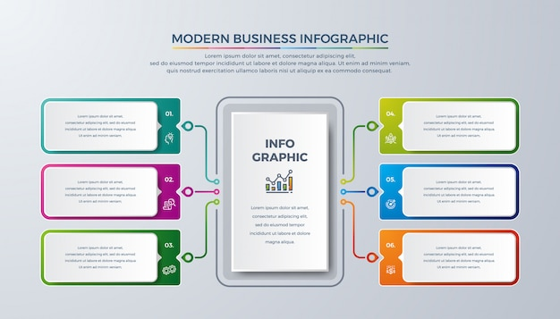 Infografía moderna con color verde, morado, naranja y azul.
