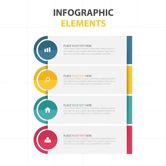 Infografía moderna con cuatro colores