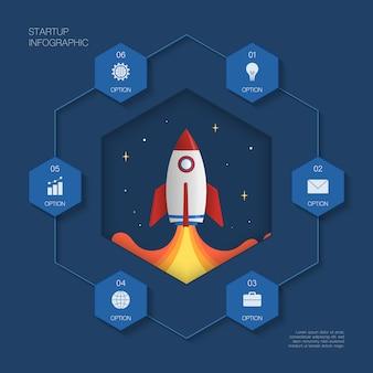 Infografía moderna, concepto de cohete con 6 opciones