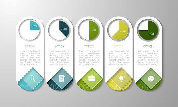 Infografía moderna con cuadro de texto sobre fondo gris para negocios, puesta en marcha, educación y tecnología