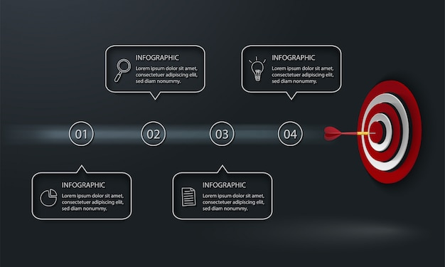 Infografía moderna con destino, dardo y cuatro cuadros de texto sobre fondo oscuro
