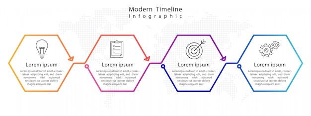 Infografía moderna línea de tiempo del hexágono