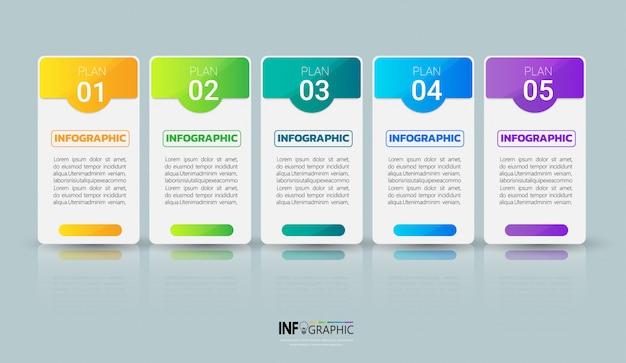 Infografía moderna de negocios 5 pasos