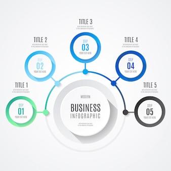 Infografía moderna de negocios con colores azules