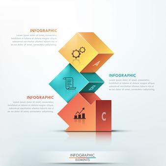 Infografía moderna opciones 3d banner