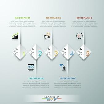 Infografía moderna opciones banner con 5 rectángulos de papel.