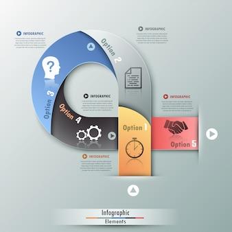 Infografía moderna opciones banner con cinta