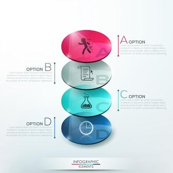 Infografía moderna opciones banner con círculos de vidrio