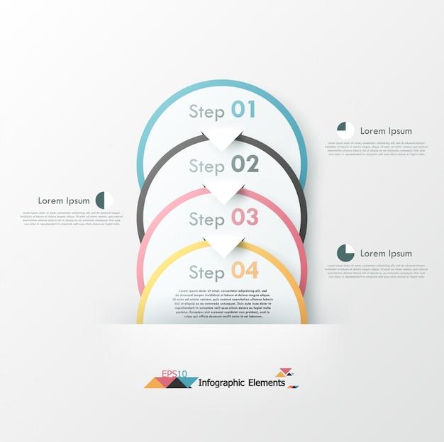 Infografía moderna opciones banner con círculos