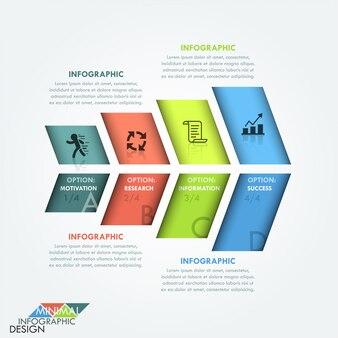 Infografía moderna opciones banner con flecha colorida