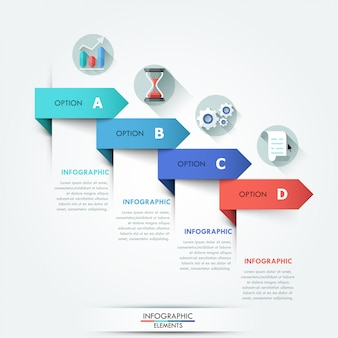 Infografía moderna opciones banner con flechas