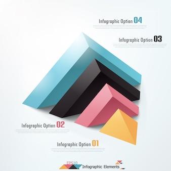 Infografía moderna opciones banner con pirámide