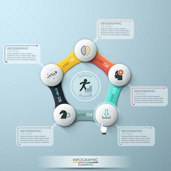 Infografía moderna plantilla de ciclo con círculos de papel