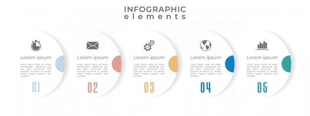 Infografía moderna plantilla de línea de tiempo 5 opciones o paso.