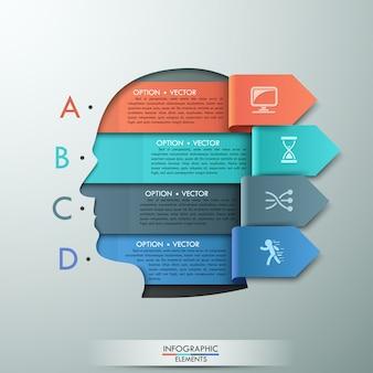 Infografía moderna plantilla de opciones para 4 opciones