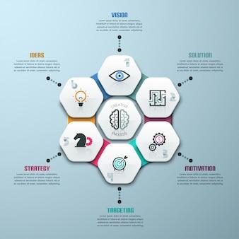 Infografía moderna plantilla de opciones con 7 polígonos de papel.