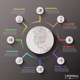Infografía moderna plantilla plana global para 8 opciones.