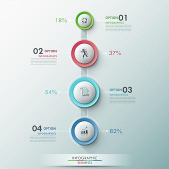 Infografía moderna plantilla de proceso con 4 botones de círculo