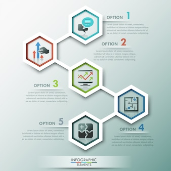 Infografía moderna plantilla de proceso con 5 polígonos de papel.
