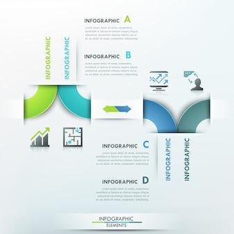 Infografía moderna plantilla de proceso con cintas