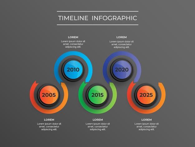 Infografía moderna de tema oscuro con línea de tiempo de 5 años vector premium