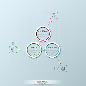 Infografía moderna con tres elementos circulares.