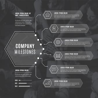 Infografía monocromática de negocios