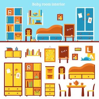 Infografía de muebles de habitación de bebé
