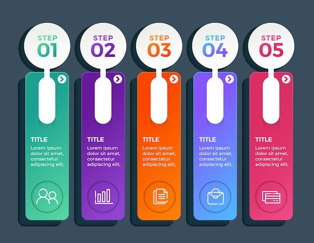 Infografía multicolor en 5 opciones de pasos