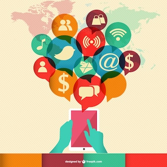 Infografía mundial retro de redes sociales vector gratuito