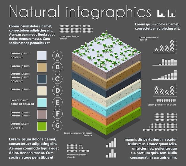Infografía naturaleza capas geológicas y subterráneas de suelo bajo la porción isométrica del paisaje natural