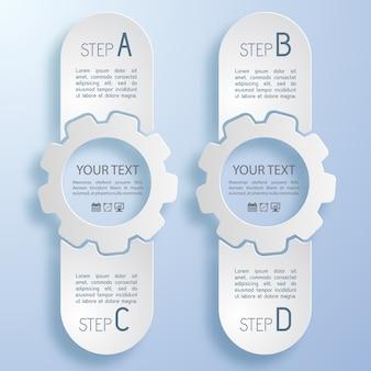 Infografía de negocio abstracto de color claro con engranajes