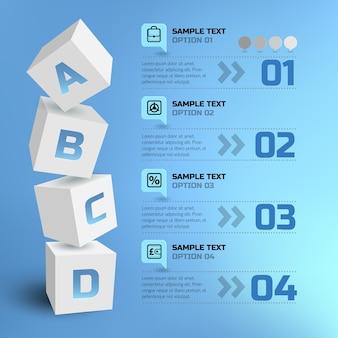 Infografía de negocio abstracto con cuadrados 3d