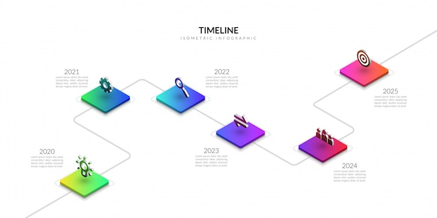 Infografía de negocio de línea de tiempo isométrica, elementos gráficos de flujo de trabajo colorido