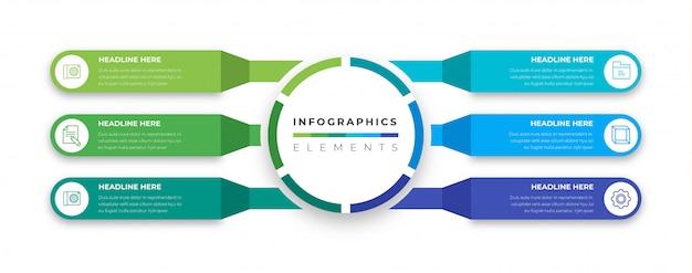 Infografía de negocios 3d de etiquetas modernas