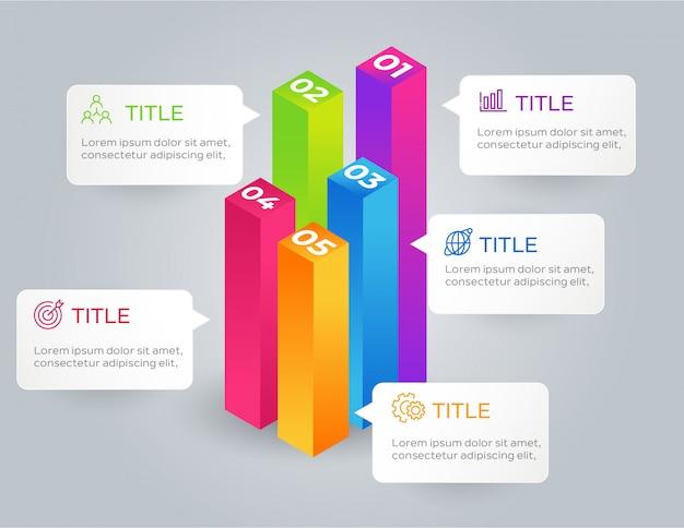 Infografía de negocios con 5 opciones